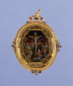 Pendant with Painting of the Crucifixation - Italian (Artist) Amelierung Reverse Painted Glass, Gold And Enamel Mount c.1550-1600 (Renaissance)