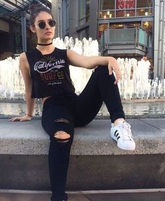 Bad Girl Outfits, Teenage Girl Outfits, Girls Summer Outfits, Rock Outfits, Edgy Outfits, Retro Outfits, Grunge Outfits, Fashion Outfits, Fashionable Outfits