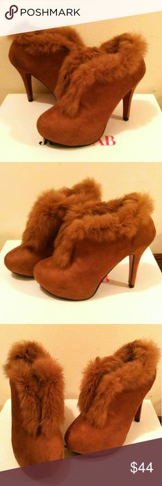 NEW Brown Ankle Suede Heels Booties Never worn! Brand new! Super cute!! Soft & comfy made with real rabbit fur. Fleeced inside! Velvet fabric! Shoes Ankle Boots & Booties