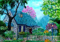 O'Regan Floral Cottage [digitally green hued, different than my original acrylic painting] by Ave Hurley only $9.49 at Imagekind