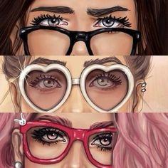 Image via We Heart It #cute #eyes #glasses #sketch #style