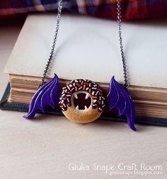 Vampire Bat Doughnut halloween pendant by Giulia Snape on etsy
