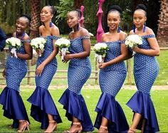 South African Traditional Dresses 2019 - style you 7 African Bridesmaid Dresses, African Wedding Attire, African Maxi Dresses, Shweshwe Dresses, Bridesmaid Dresses With Sleeves, African Attire, African Wear, Bridesmaids, Sepedi Traditional Dresses
