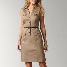 khaki dress Khaki Dress, Belted Dress, African Blouses, Liz Claiborne, Cotton Dresses, Safari, Fashion Dresses, Dresses For Work, Shirt Dress