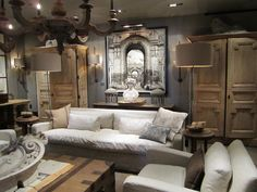 Castle style. Raw wood and raw BUT soft linen pillows by Rags 2 Riches Design, NYC.