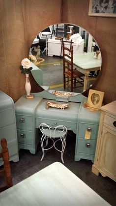 Vintage Art Deco Waterfall Dressing Table Vanity With