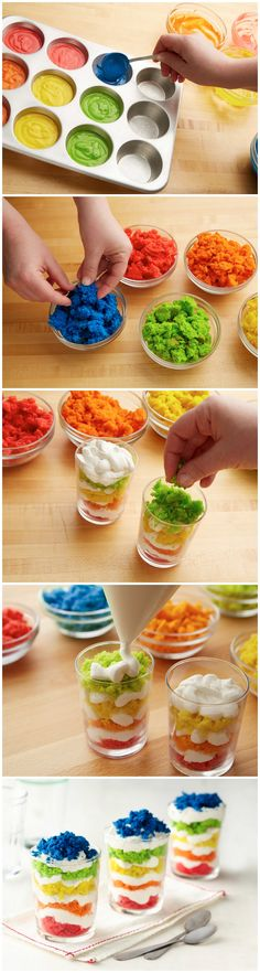 End-Of-The-Rainbow Cookie Parfaits ~ Says: Kids and adults will flip for these easy rainbow parfaits that are easy to make and over-the-top delicious. cute for St. Patrick's Day or a Rainbow Themed Party (birthday cake cookies delicious food) Just Desserts, Delicious Desserts, Dessert Recipes, Dessert Ideas, Cake Ideas, Rainbow Food, Rainbow Cookie, Rainbow Treats, Rainbow Desserts