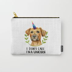 """""""I'M A UNICORN"""" Pit Bull Dog Illustration Carry All Pouch by NamiBear. #funny #humor #pitbulls #apbt #pibble #dogs #dogLovers #unicorn #whimsical #cute"""