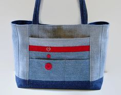 Large Blue Jean Tote Bag Large Denim Purse Shoulder Bag Handbag Blue Red Upcycled Recycled Repurposed Fabric Bag All Purpurse Bag Book Bag
