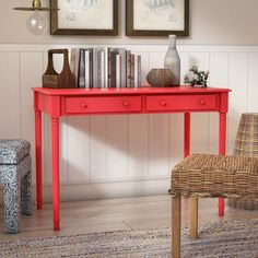 Beachcrest Home Vandever Farmhouse 2-Drawer Writing Desk - Navy Finish: Rustic Red
