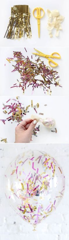 "Nothing says ""Happy Birthday"" quite like balloons and confetti, which is probably what makes these confetti-filled balloons so perfect! This budget-friendly DIY party idea can be made with just a few supplies and will look so fun and festive at a birthday or surprise party."