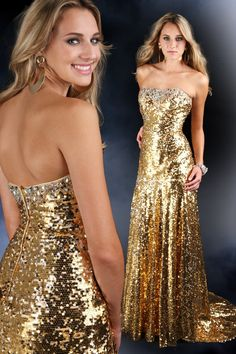 71081 Impression Sparkle Full Gold Sequin Prom Gown Evening Dress Size US Label 6 UK 8