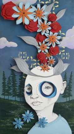 """Happy Thoughts,""paper art by Leif Erik Johansen"