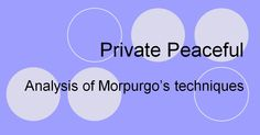 analysis of private peaceful by michael morpurgo The novel private peaceful by michael morpurgo was published in2003 and an online source of the text would probably be a breach ofcopyright micheal morpurgo writes childrens books but some can be read by teenagers he writes fictional books and in my opinion micheal morpurgo's best book is.
