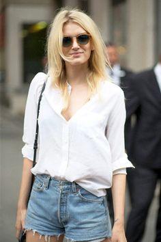 le fashion blogger white shirt distressed denim shorts denim shorts spring outfits
