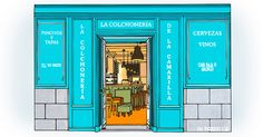 Lockers, Facade, Locker Storage, Madrid, Watercolor, Store, Illustration, Furniture, Home Decor