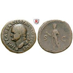 Römische Kaiserzeit, Vespasianus, As 74, ss: Vespasianus 69-79. Kupfer-As 27 mm 74 Rom. Kopf l. mit Lorbeerkranz IMP CAESAR VESP AVG… #coins