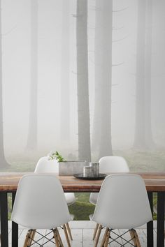 Want a dining room space that stands out from the rest? This stunning forest wallpaper design captures the beauty from the outdoors and brings it straight into your home. Giving your interiors the ultimate Scandi vibe and the perfect backdrop to candlelit dinner parties.