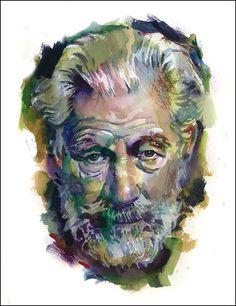 watercolour portrait facial planes - Google Search
