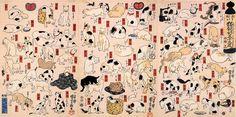 """Cats suggested as the fifty-three stations of the Tokaido"" 歌川国芳 (Utagawa Kuniyoshi, 1798 - 1861)"