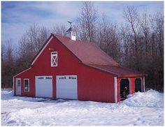Here's a combination car barn, shed and workshop in upstate New York. It's just one of fifteen  different layouts that you can build from the $59.00 Walnut Pole-Barn plan set by architect Don Berg