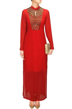Red embroidered long dress available only at Pernia's Pop-Up Shop.