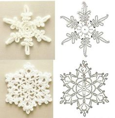 Irish lace, crochet, crochet patterns, clothing and decorations for the house, crocheted. Crochet Snowflake Pattern, Crochet Stars, Crochet Motifs, Crochet Snowflakes, Christmas Snowflakes, Crochet Doilies, Crochet Flowers, Crochet Patterns, Crochet Winter