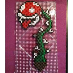 HAMA PERLER BEADS / PERLES À REPASSER / STRIJKPARELS - MARIO NINTENDO - Pirahna plant - Mario hama beads by svampissvamp