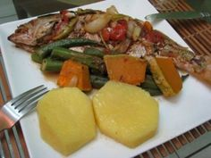Steamed Snapper with Okra, Pumpkin & Yellow Yam
