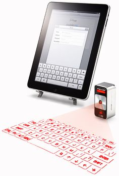 a cube laser virtual keyboard allows you to type on any surface.  uses a USB-charged battery that lasts 150 hours and it fits in the palm of your hand.  has 'clicking' sounds when you type...