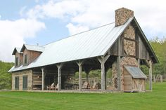 Rustic House Plan with Large Outdoor Living Area and Stair Silo - - 02 im wohnbereich Rustic House Plans, Rustic Barn Homes, Barn Style House Plans, Metal Barn House Plans, Rustic Home Design, Rustic Style, Cabin In The Woods, Pole Barn Homes, Pole Barns