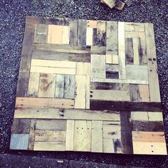 Pottery Barn hack! Pallet wall art. Only half done here. Still need to paint the wood.