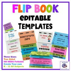 Back to School, Editable, Foldable Flip Book Templates - No Glue No Mess  Best new resource for teachers. This bundle includes 3 totally editable templates in PowerPoint format from which you can easily create three different sized foldable flip books. New! Fun! Use in K - 12 and all ALL subject areas. MUST HAVE and only $4.50 for ALL 3.
