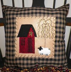 Pillow COVER Primitive Saltbox House Cushion Sheep Country Prim Rustic Home Decor Decorative Accent UNSTUFFED Stitchery House Decoration via Etsy