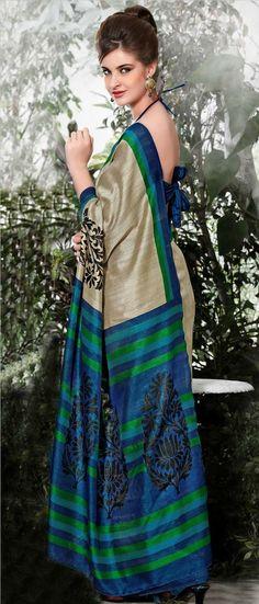 Dusty Beige and Blue Art Bhagalpuri #Silk #Saree with Blouse @ $27.61