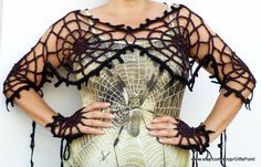Spider Web Transformer with Mittens One size Halloween Costume Goth Grunge Accessory One Size Black Spiderweb