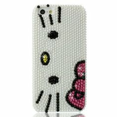 Slim 3D Bling Crystal Hello Kitty iPhone Case for iPhone 5 (Package includes: soft pouch, screen protector, extra crystals): Wedding gift