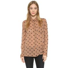 Ganni Seymour Blouse ($135) ❤ liked on Polyvore featuring tops, blouses, nougat polka, button up blouse, beige long sleeve blouse, polka dot top, beige top and dot blouse