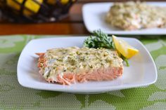 Baked Salmon with Herbed Mayo - Baked salmon with herbed mayo is such an easy recipe. It consists of salmon fillet spread with a mixture of mayonnaise, chopped parsley, lemon juice and seasoning salt, and then baked until flaky. It is delicious and very satisfying. Just make sure not to overcook the salmon. (I add a bit of melted butter to the mixture and sometimes use chopped fresh dill instead of parsley. I bake at 400 F. for 15 to 20 minutes depending on the thickness. It is so moist. YS)