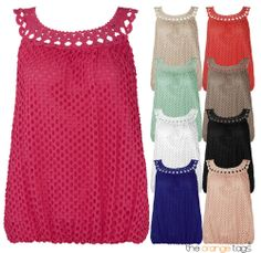 NEW WOMENS #LINED #PLAIN #CROCHET #VEST #LADIES #SLEEVELESS #TOP #summer #trend #outfit #fashion