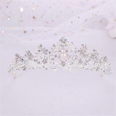 Floral Headband Wedding, Bridal Hair Tiara, Gold Bridal Crowns, Silver Headband, Bridal Earrings, Wedding Flowers, Silver Tiara, Pearl Bridal, Pearl Headband