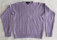 Women's RALPH LAUREN 100% Cashmere Sweater Pullover Cable Knit Lavender Purple M #RalphLauren #Crewneck