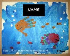 Handprint and Footprint Arts & Crafts: Handprint Fish Canvas Painting