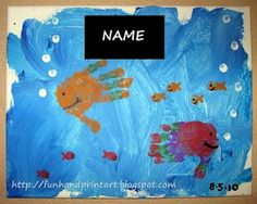 Handprint and Footprint Arts & Crafts: Handprint Fish Canvas Painting
