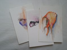 Set of Three Little Monster Watercolor Postcards by darkcanister, $6.00
