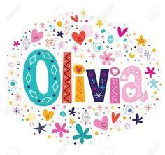 Olivia nombre femenino letras decorativas diseño de tipo Foto de archivo - 43072821 Hand Lettering Art, Lettering Design, Cute Girl Names, Glitter Globes, Doodle Fonts, Name Pictures, Female Names, Name Art, Letter Art