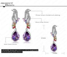 Purple Color Water Drop Shape Cubic Zirconia Earrings