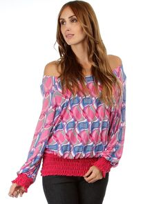 Printed Top, Magenta Pink with Gathered Waistline
