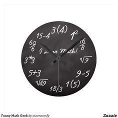 Geek engraçado da matemática relógios de paredes