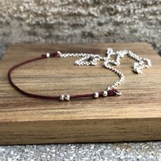 Minimalist garnet beads 925 sterling silver necklace/ Silver garnet necklace/ silver choker necklace/ thin silver necklace